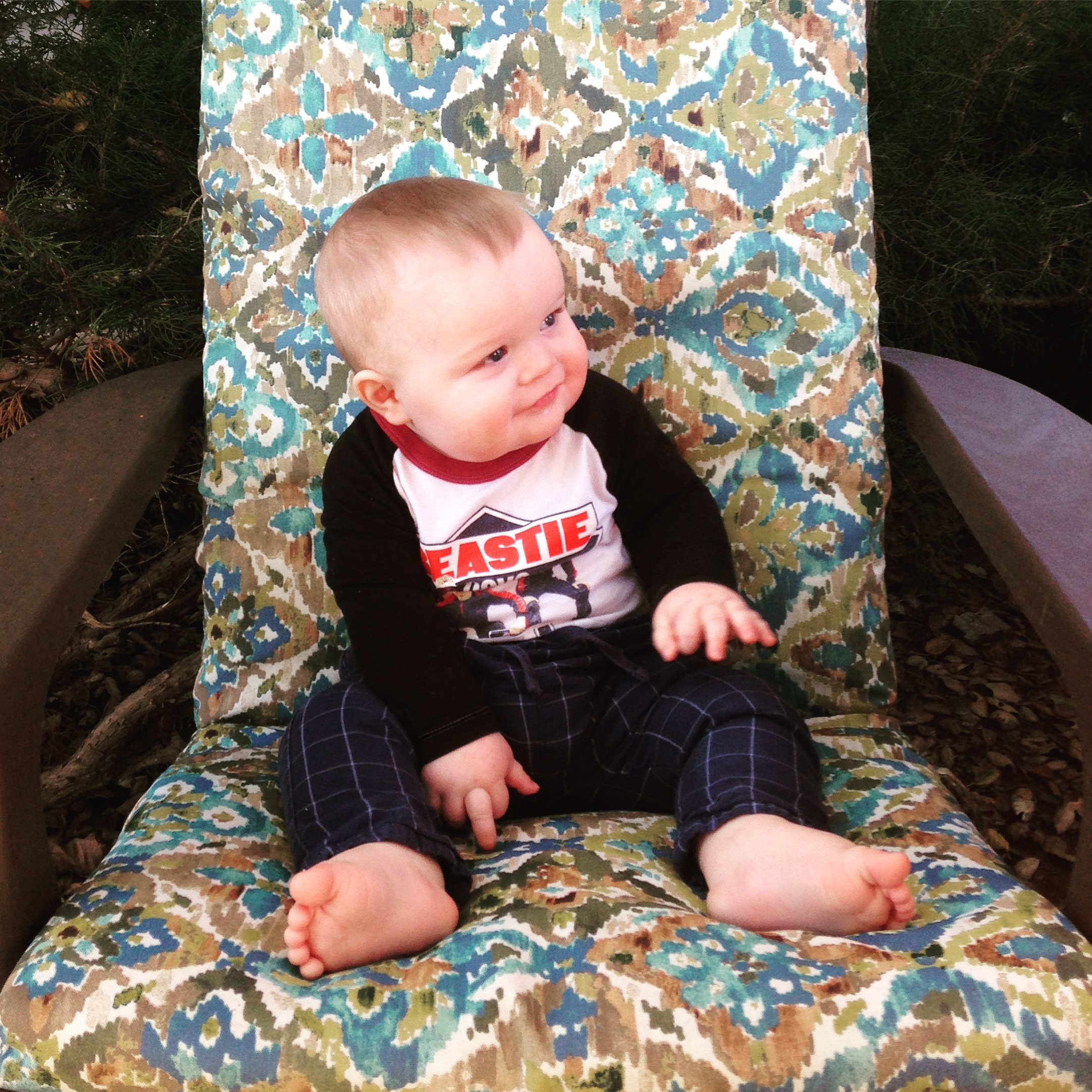 baby sitting in paisley chair Santa Ynez