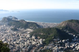 aerial view of Copacabana Rio