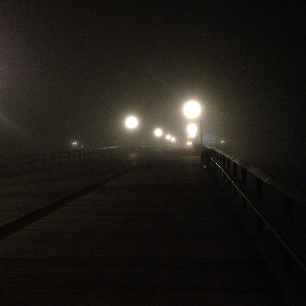 Stearns Wharf at night in fog